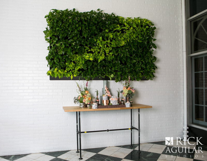 plant wall at wedding