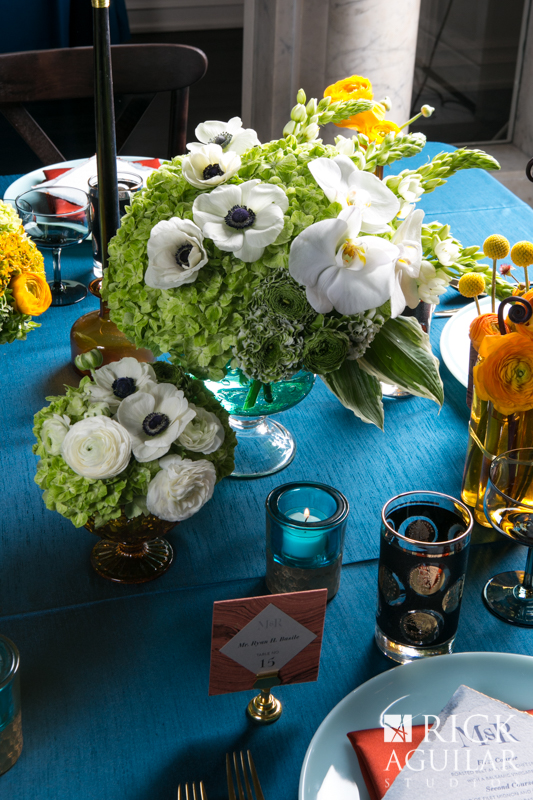 wedding flowers at reception table